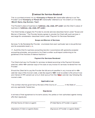 Contract For Services Rendered Template  Contract For Services Template